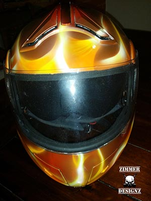 Custom painted motorcycle helmet flame job