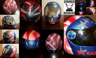 In God We Trust cool custom helmet with american flag theme flames