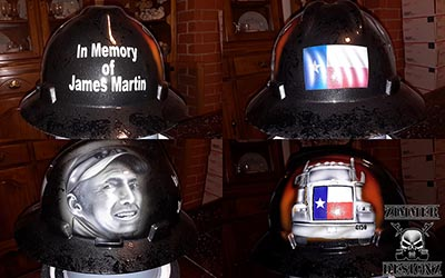 in memory portrait hard hat James martin